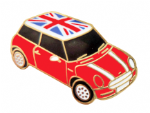 Mini One With Union Jack Roof Car Pin Badge